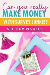 survey junkie review text with notebook and money