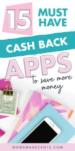 Social media graphic with money and a calculator with the text 15 must have cash back apps