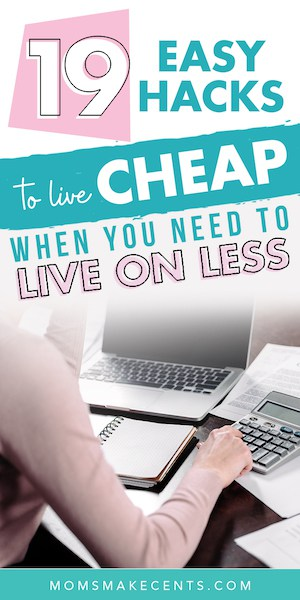 social media graphic with a desk and hands in the frame with text How to Live Cheaply
