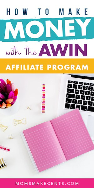 Social media graphic with a computer and the text become an awin affiliate and join the awin affiliate program