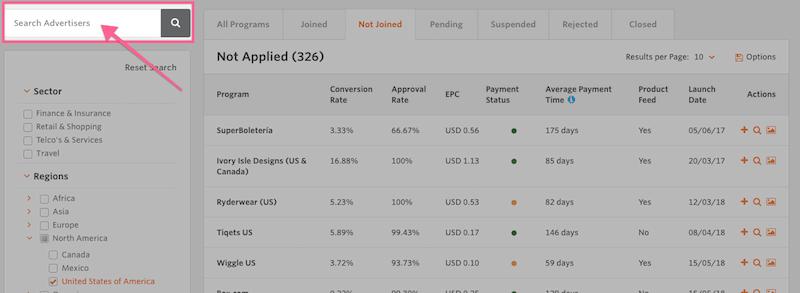 screen shot of awin affiliate program dashboard