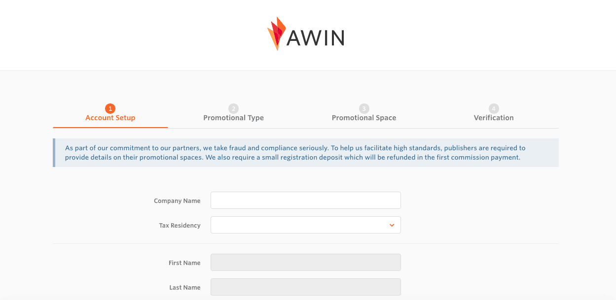 screen shot of the awin affiliate application page