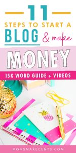 social media graphic with a desk and money. The text reads how to start a blog and make money