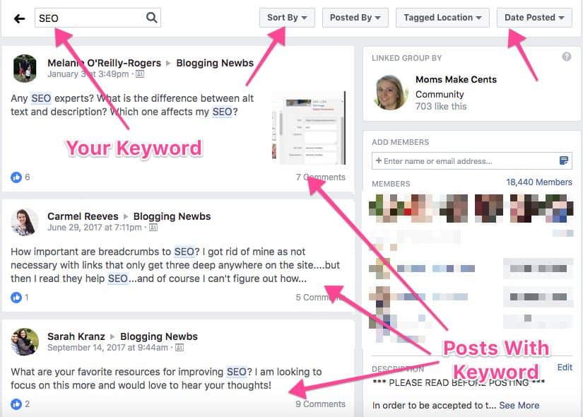 example of search in facebook group to come up with content ideas for start a blog post