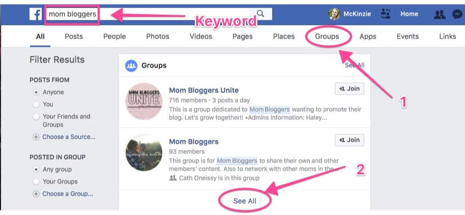 screenshot of facebook group search for start a blog tutorial