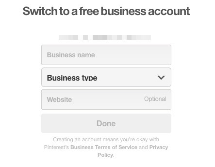 screenshot of switching to a free pinterest business account when you start a blog