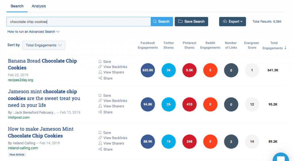 screenshot of buzzsumo responses for reference in the how to start a blog post