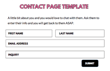 an example template of an ideal contact page layout when you are starting a blog