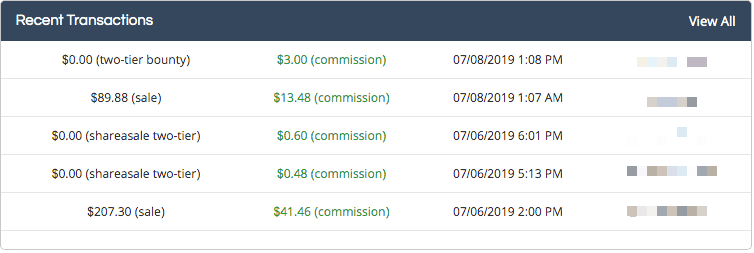 screenshot of shareasale earnings for start a blog and make money section of post