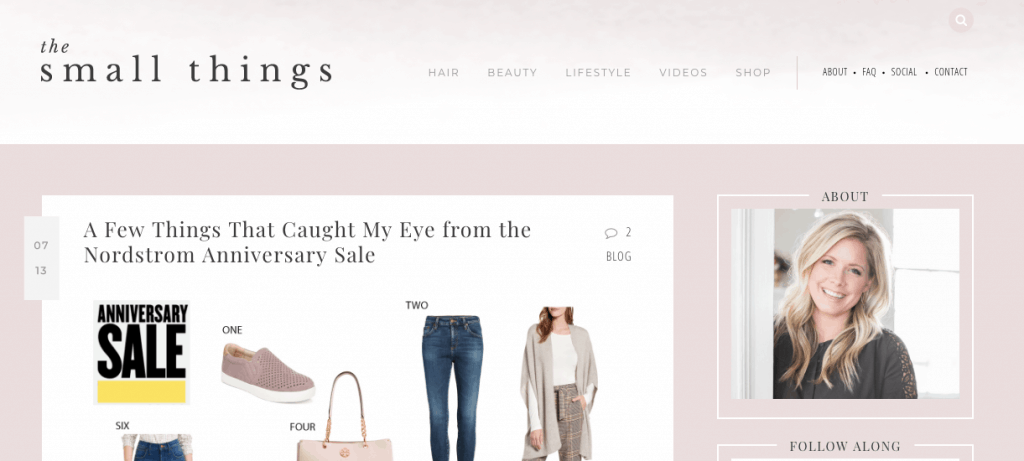 screenshot of small things blog for start a blog example