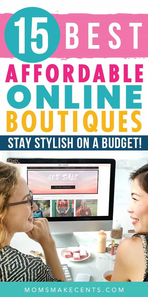 Women shopping online with the text cheap online boutiques for affordable clothes