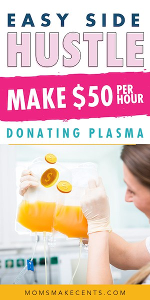 picture of woman donating plasma with the text selling plasma for money