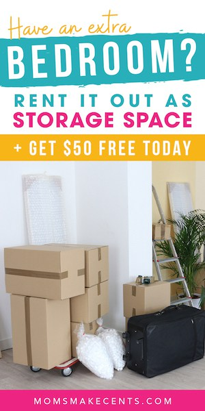Boxes in a room with text about signing up with neighbor storage