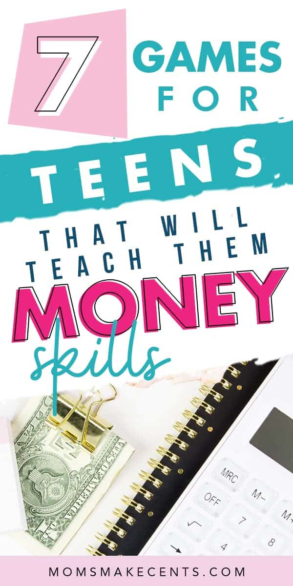 Money on a desk with a calculator and the text money games for teens