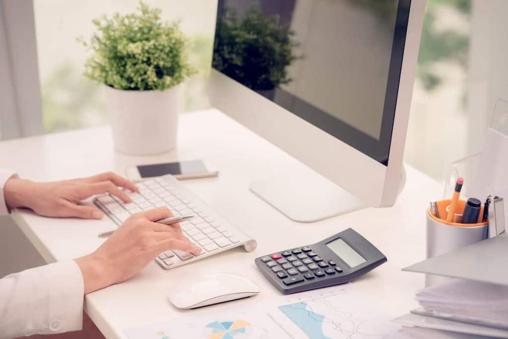 Woman working as a business bookkeeper.