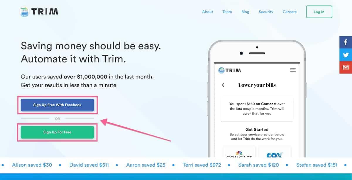Screenshot of Trim App sign up page